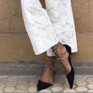Zara Pointed Toe Flats Pearl Straps Black